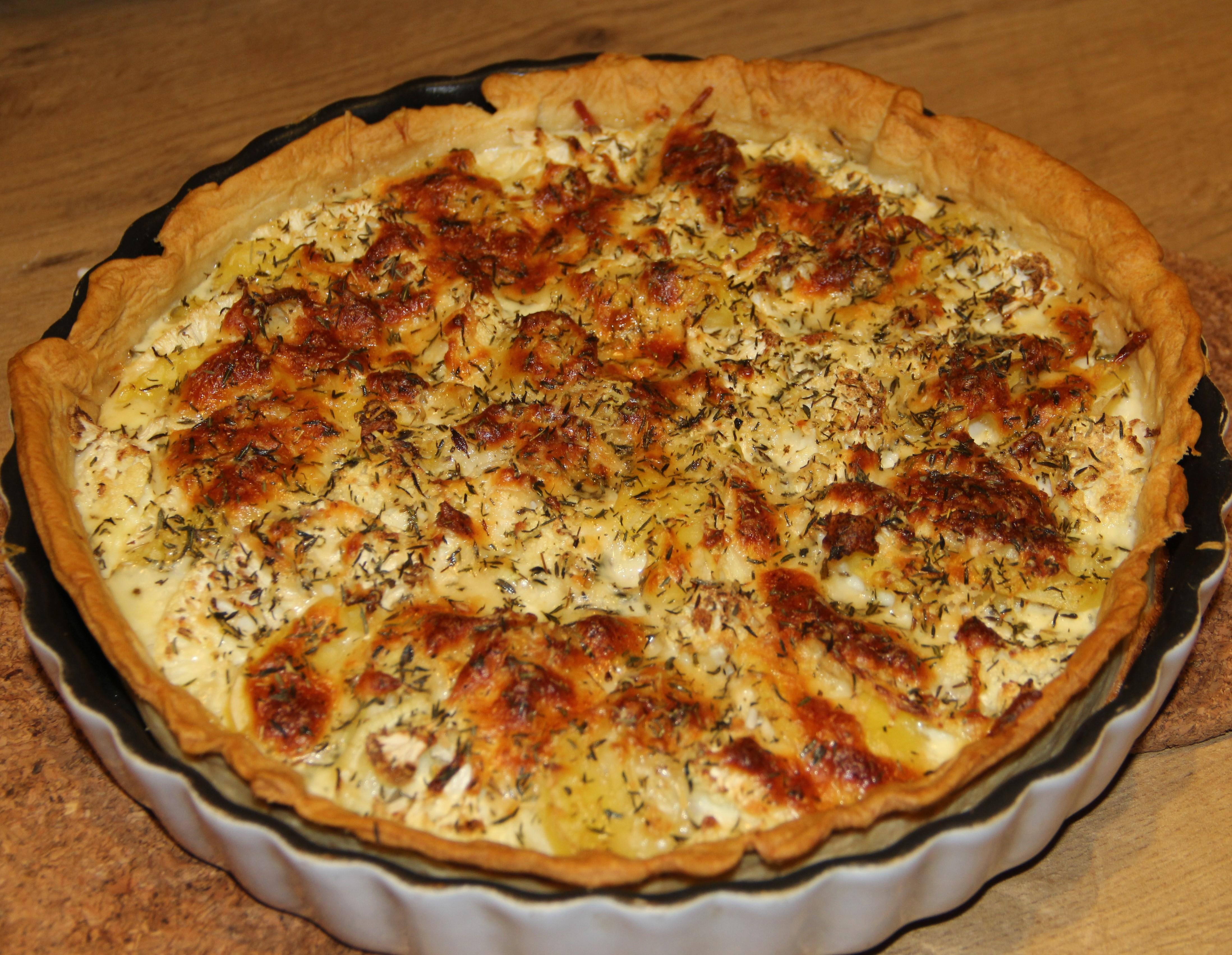 tærte med kartofler og blomkål